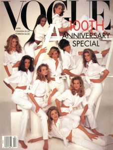 Christy Turlington, Linda Evangelista, Cindy Crawford, Karen Mulder, Elaine Irwin, Niki Taylor, Yasmeen Ghauri, Claudia Schiffer, Naomi Campbell & Tatjana Patitz photographed by Patrick Demarchelier for Vogue, April 1992