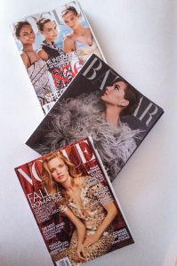 Joan Smalls, Cara Delevingne and Karlie Kloss on the cover of Vogue, September 2014. Emme Kathleen Hepburn Ferrer on the cover of Harper's Bazaar, September 2014. Natalia Vodianova on the cover of Vogue, October 2014