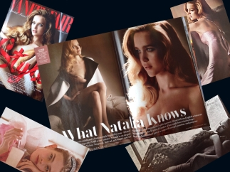 Collage of Natalia Vodianova's spread in Vanity Fair, September 2014. Photos by Mario Testino.